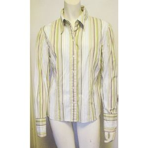 Geoffrey Beene  Sport Stretch Striped Shirt 8 EC